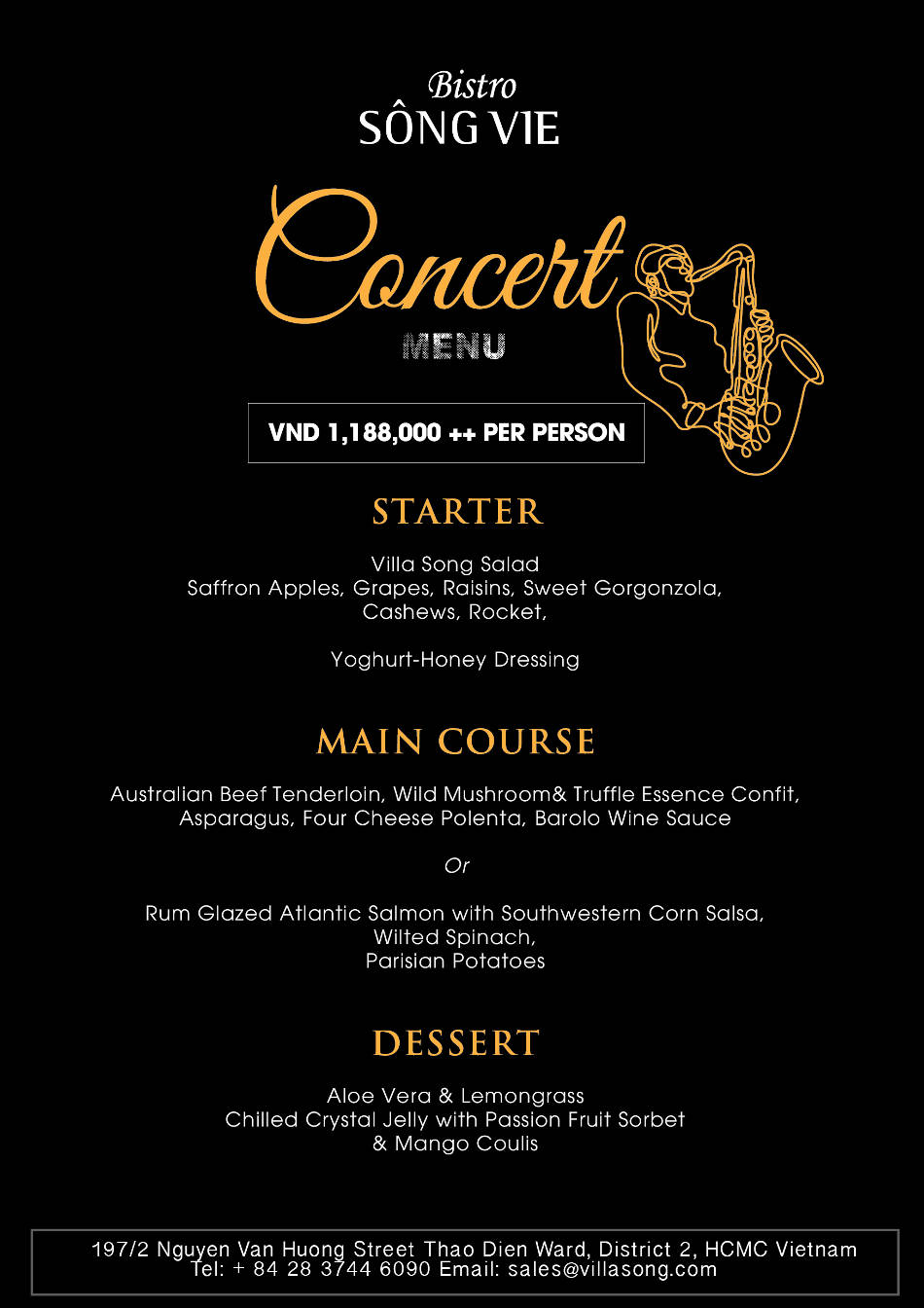 Villa Song Saigon Jazz concert menu
