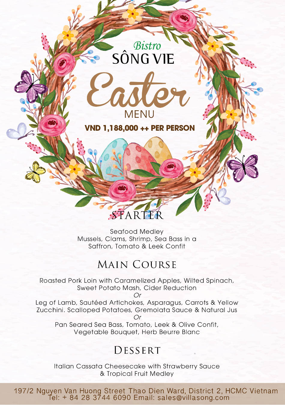Easter menu at Bistro Song Vie - Villa Song Saigon