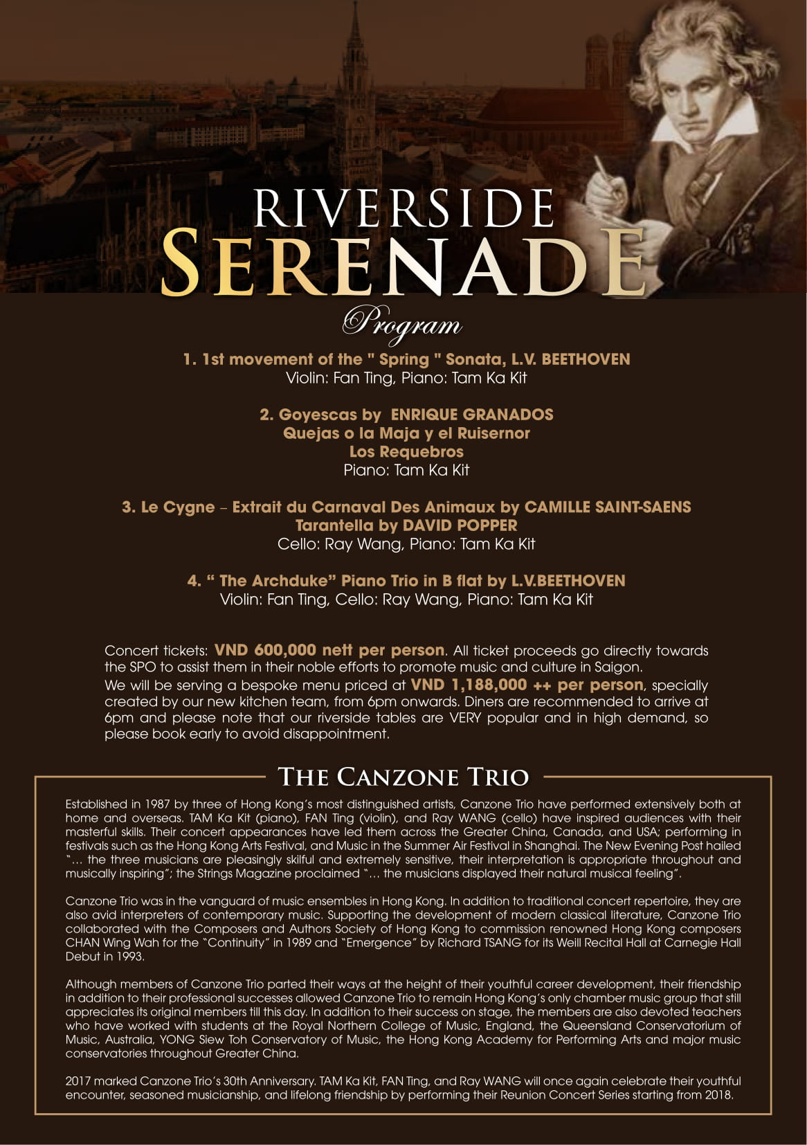 beethoven serenade concert program at Bistro Song Vie - Villa Song Saigon